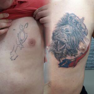 cover tetování lev newschool
