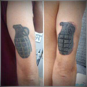 cover tetování ruční granát